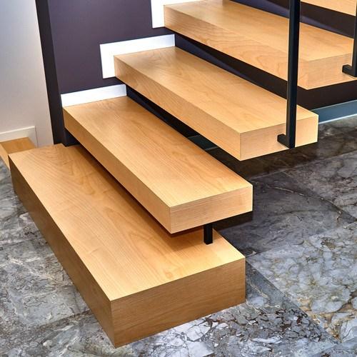 Custom Wood Stair Parts Hardwood Lumber Company | Dark Wood Stair Treads | Timber | White Handrail | Dark Stained | Natural Wood | Wood Finish