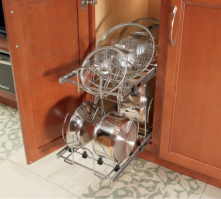 tiered pan and lid storage pull out kit