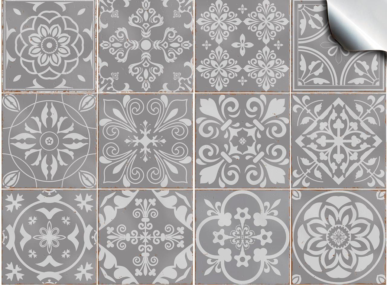 24 grey tile stickers victorian mosaic tile transfers 6x6 4x4 tile decals bathroom kitchen 10x10cm 15x15cm
