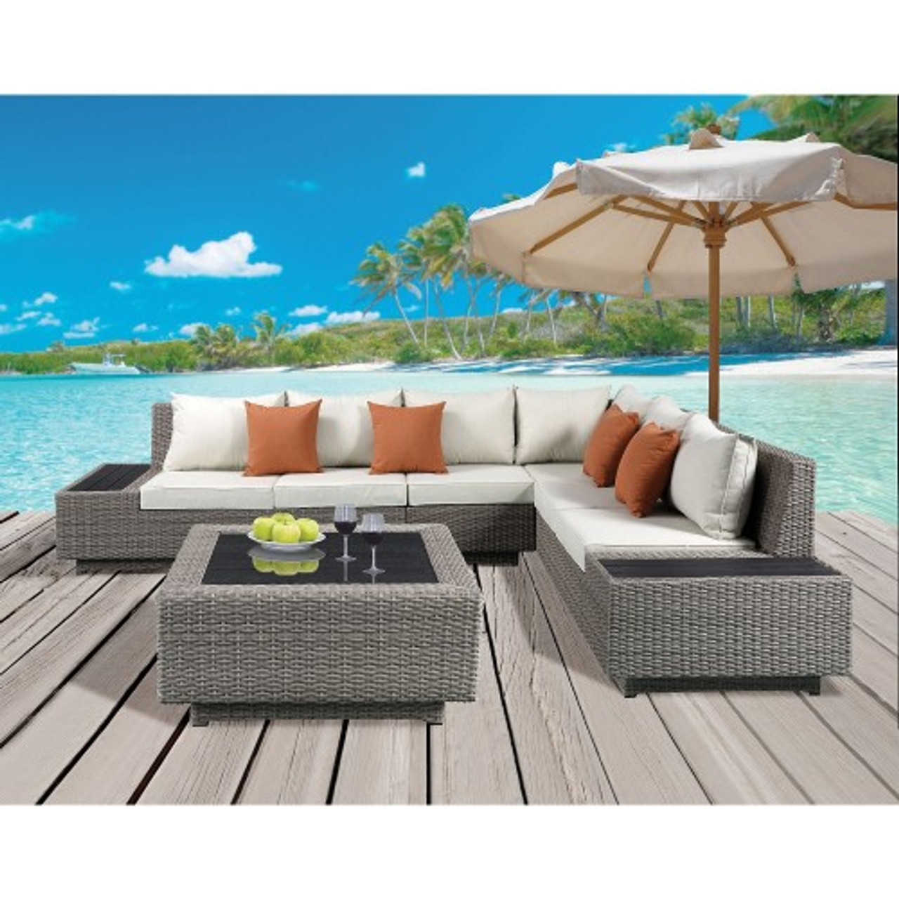 acme salena patio sectional cocktail table in beige fabric gray wicker