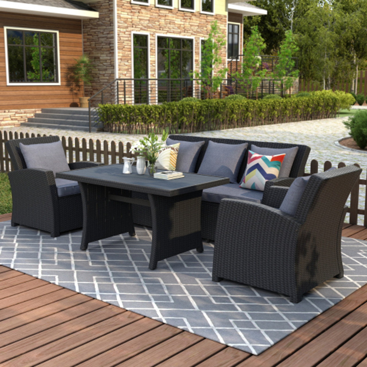u style outdoor patio furniture set 4 piece conversation set black wicker furniture sofa set with dark grey cushions