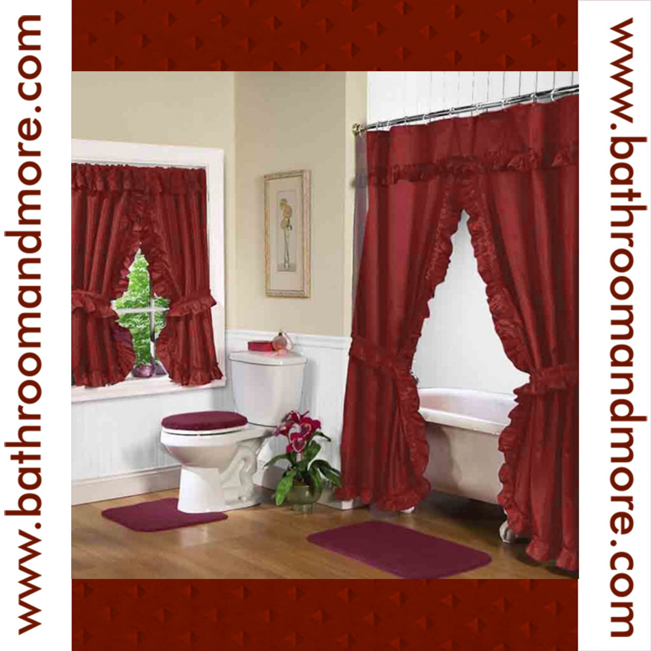 rust red fabric double swag shower curtain with matching window curtain