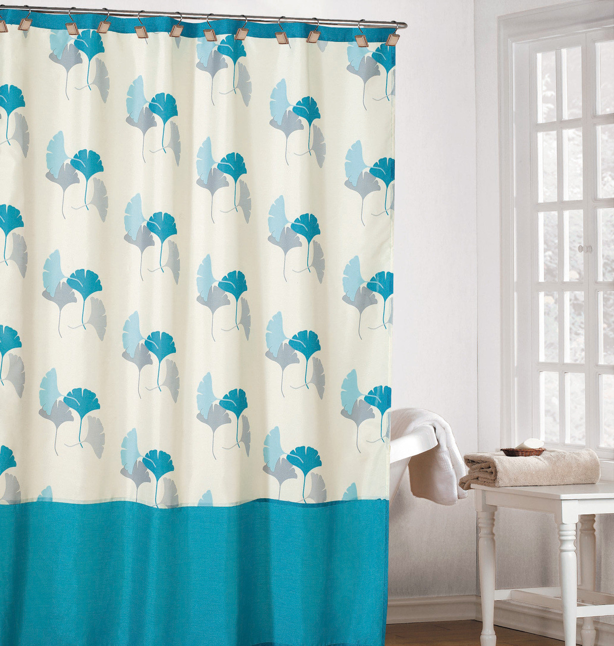 refreshing off white color fabric shower curtain with light blue gray and turquoise gingko leaf design