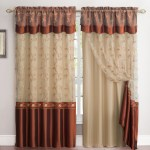 All In One Cinnamon And Gold Window Curtain Drapery Panel Double Layer Solid Color Back With Embroidered Sheer Top And Valance 55 X90 My Infinity Store