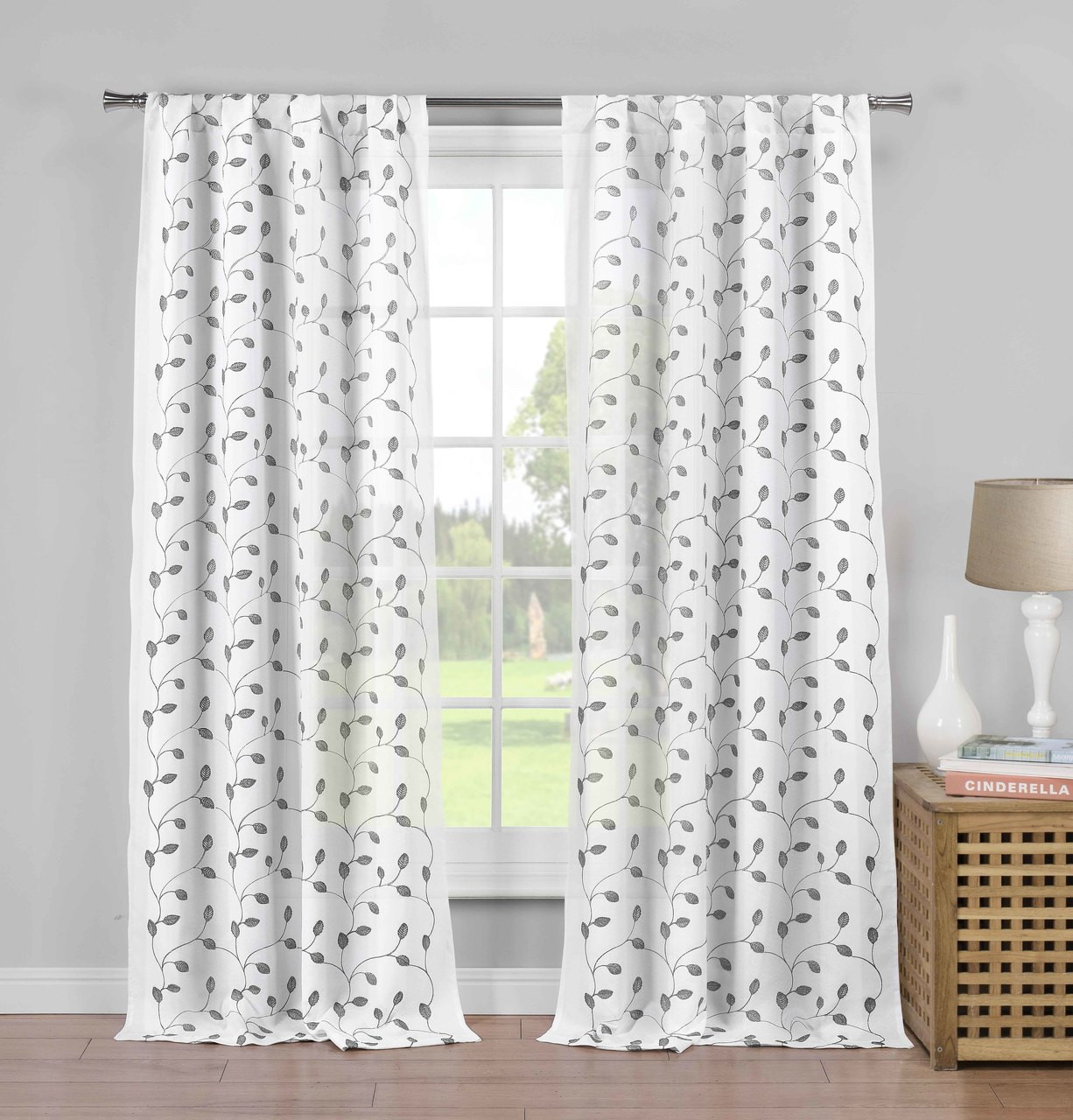 set of two 2 pure white semi sheer rod pocket window curtain panels gray metallic leaf and branch design 84 long