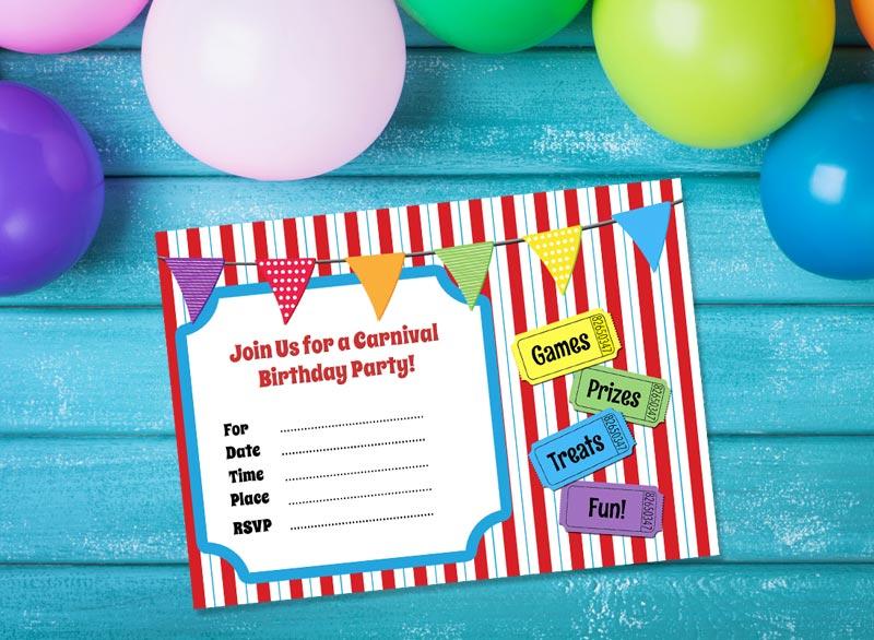 free printable carnival themed birthday party invitation