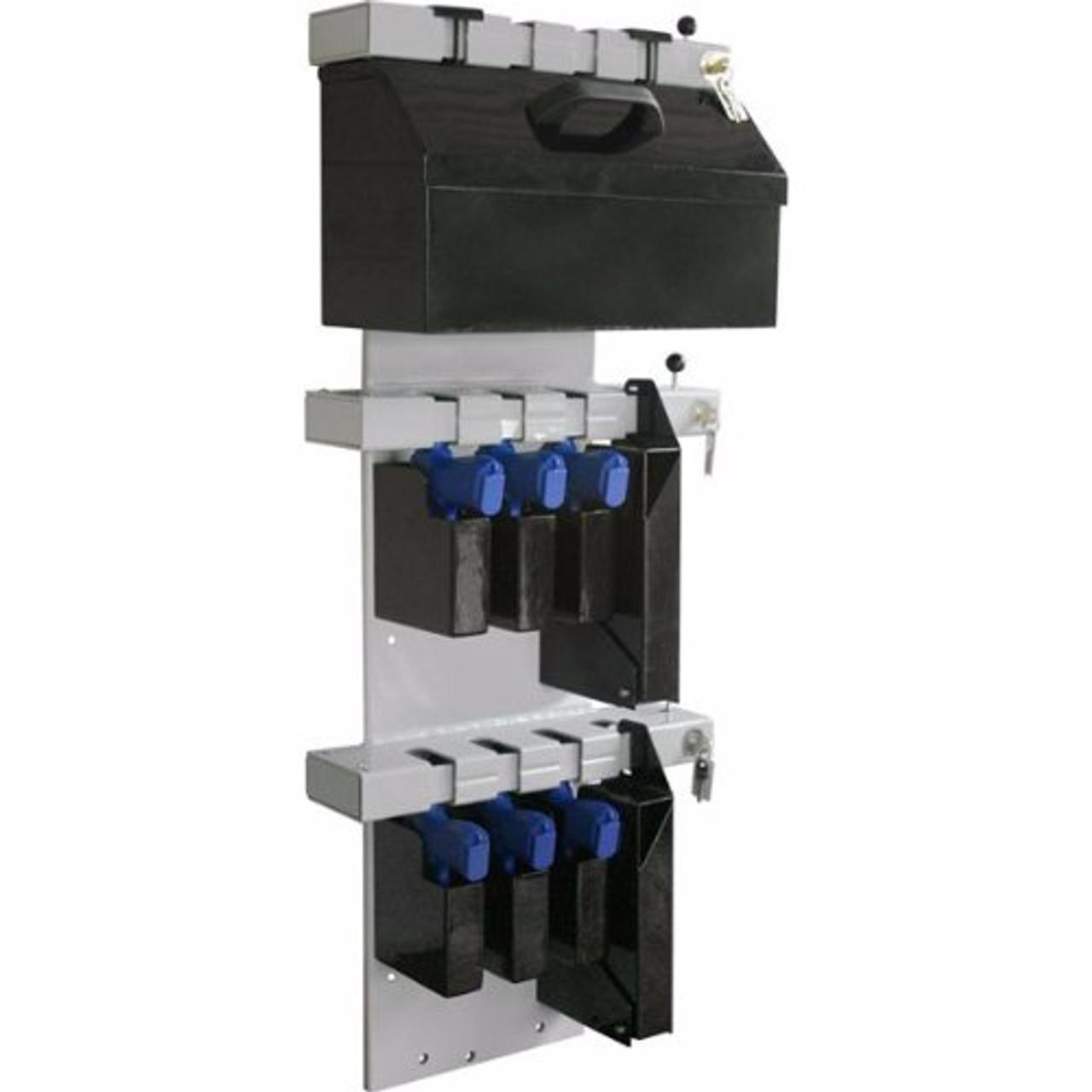 tufloc 72 210 12 slot handgun storage gun rack vertical wall mount 47x19x5 power coated steel additional storage box pockets small box holds 2