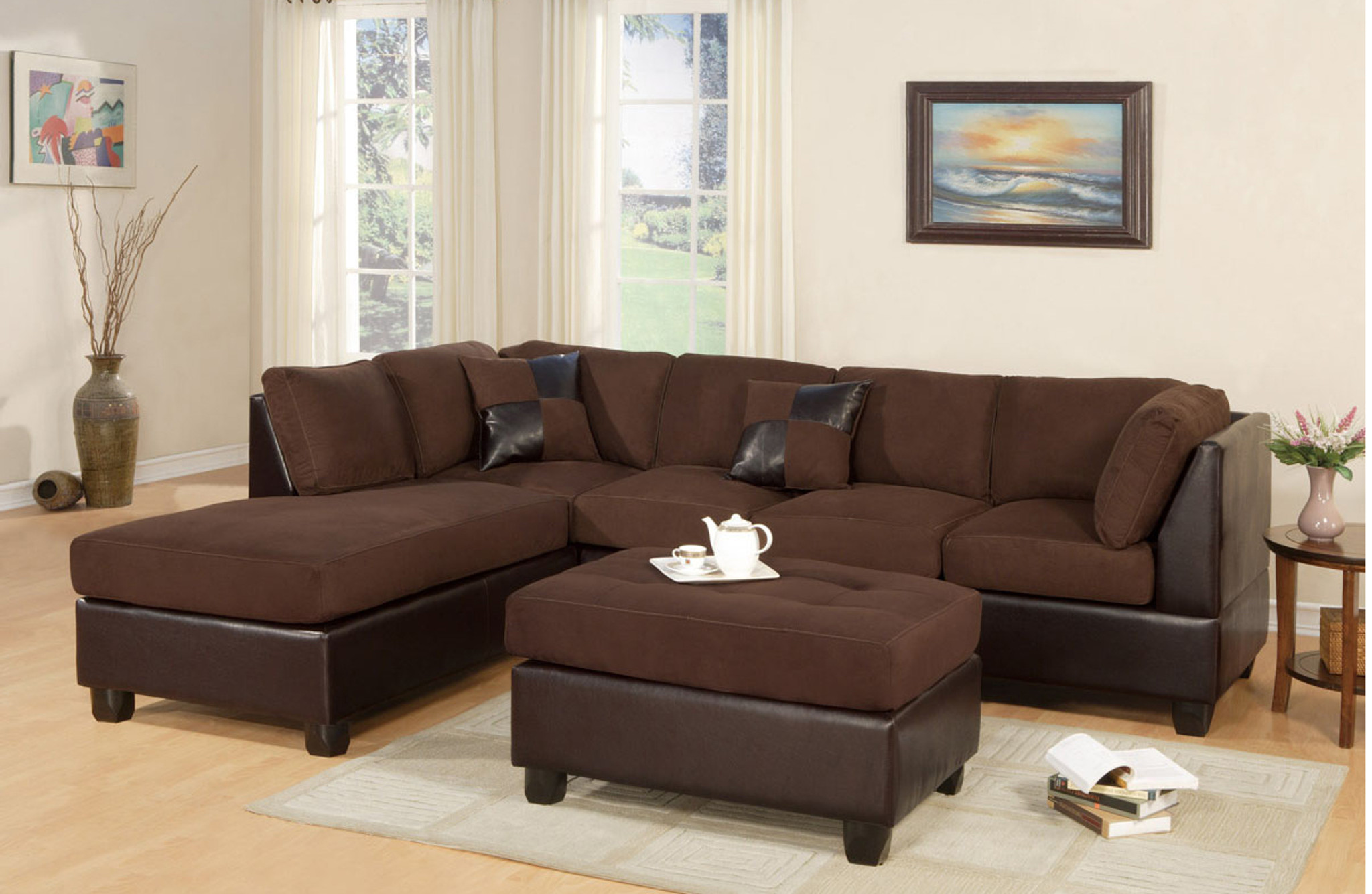 modern 2 pcs cypress chocolate color sectional sofa and chaise set