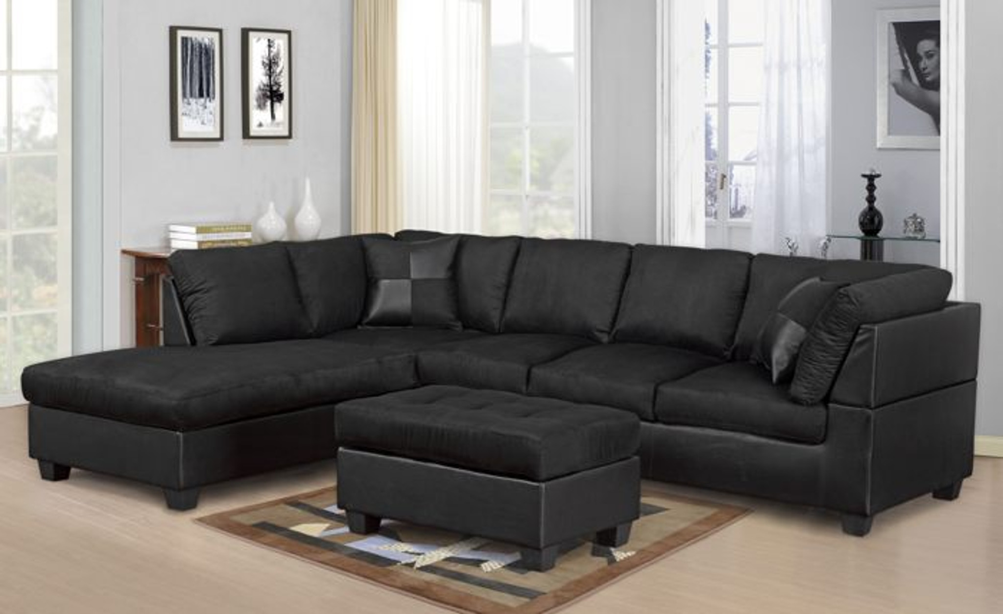 modern 2 pcs cypress black color sectional sofa and chaise set