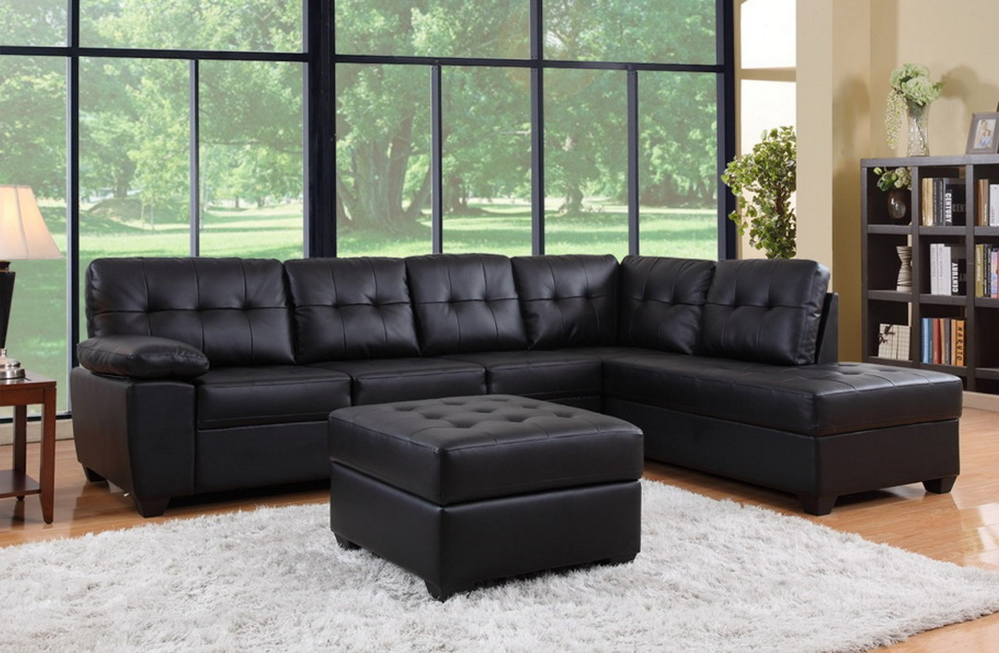 3pcs Black Leather Sectional Sofa Chaise And Ottoman