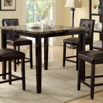 5pcs Marble Finish Counter Height Dining Table With Dark Brown Faux Leather Chair Set Km Home Furniture