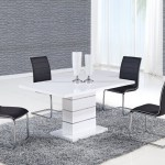 Alexia 5 Pcs Contemporary Set 4 Black Chairs And White Modern Table Km Home Furniture