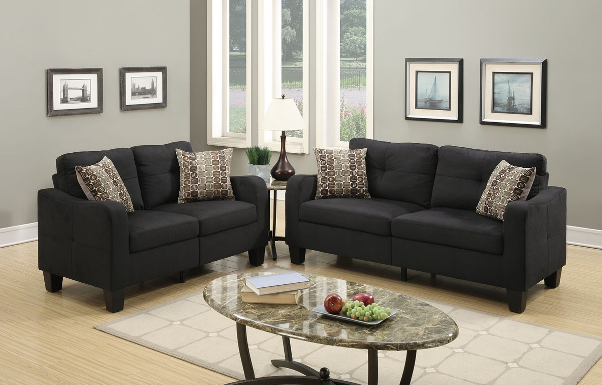 Kassa Mall Home Furniture F6922 Loveseat Sofa Set With Four Accent Pillows And In Black Linen