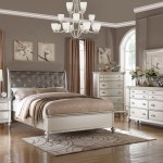 Kassa Mall Home Furniture F9317 Antique Silver Bed Frame With Uplholstered Headboard And Tufting Accent