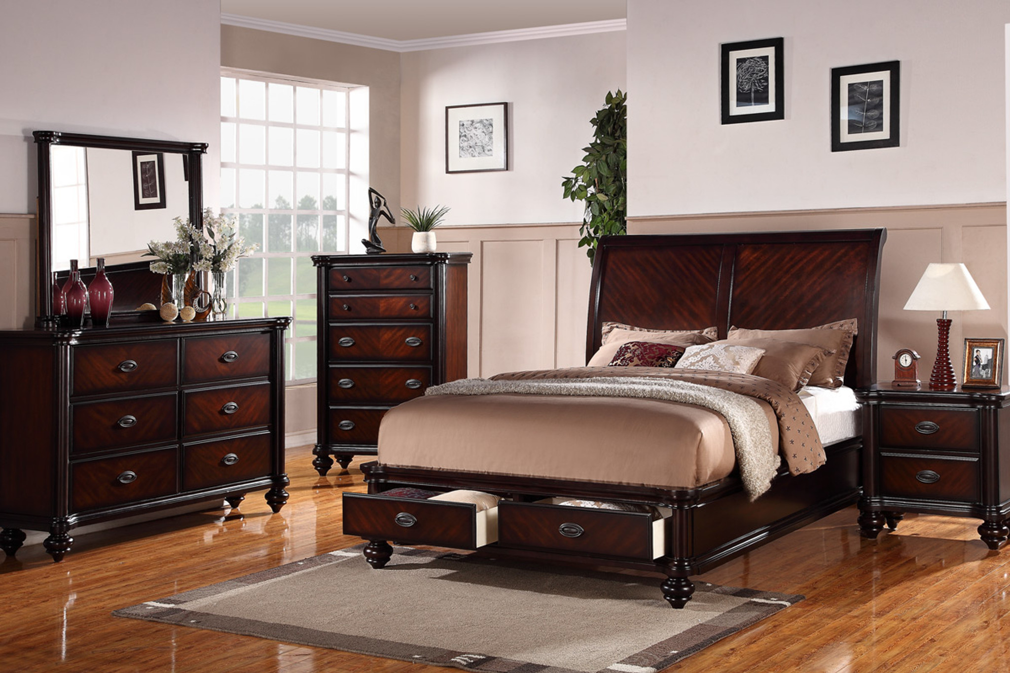 Kassa Mall Home Furniture F9190 King Queen Size Bedroom Bed Frame Dark Brown Finish With Storage