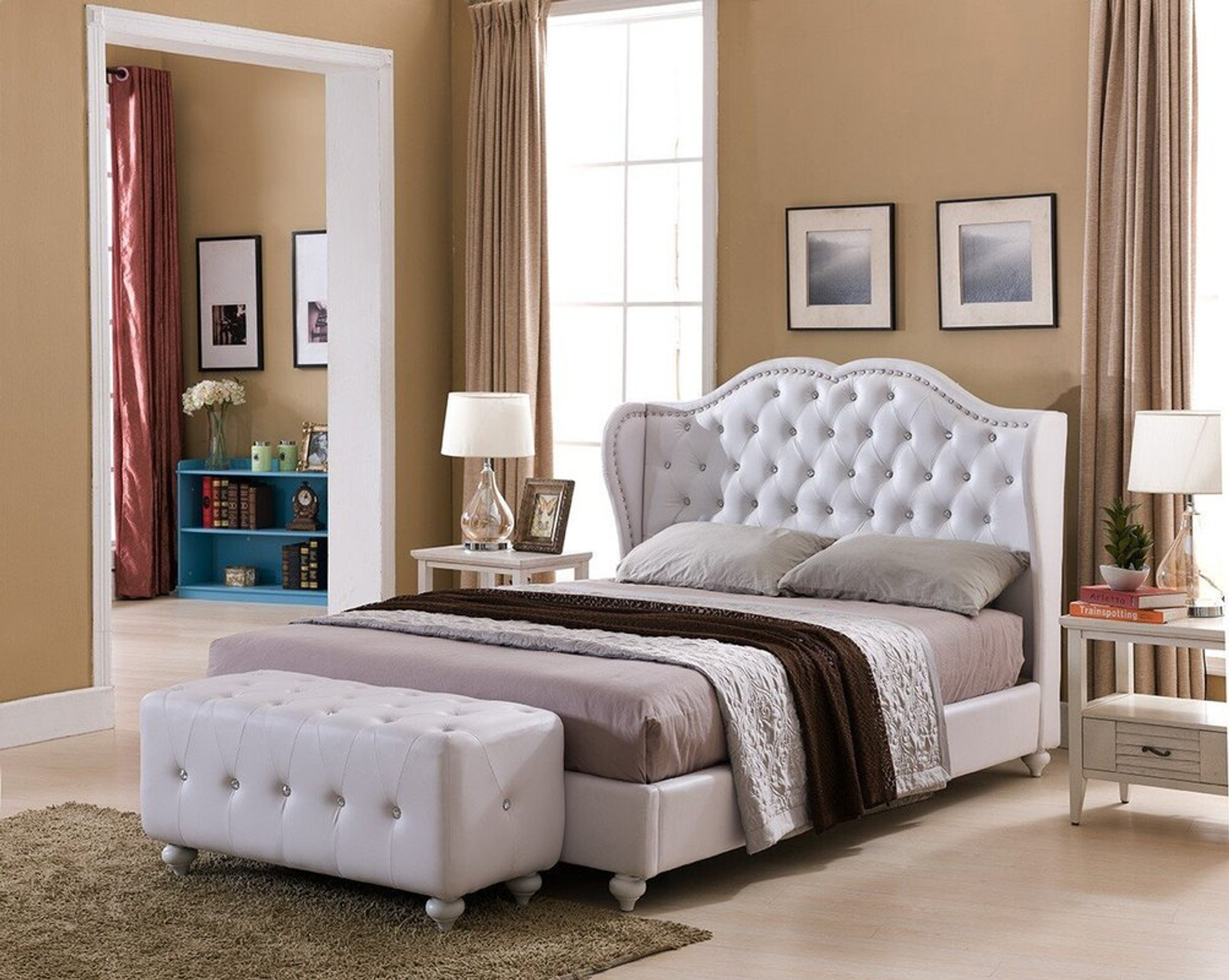 Paradise Paradise White Faux Leather King Size Platform Bed Collection By Happy Homes
