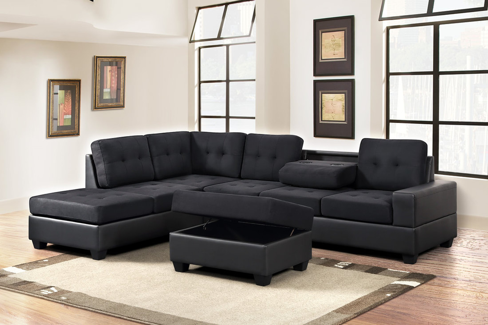 3 pcs thick fabric bonded leather black katy sectional with drop down cup ottoman