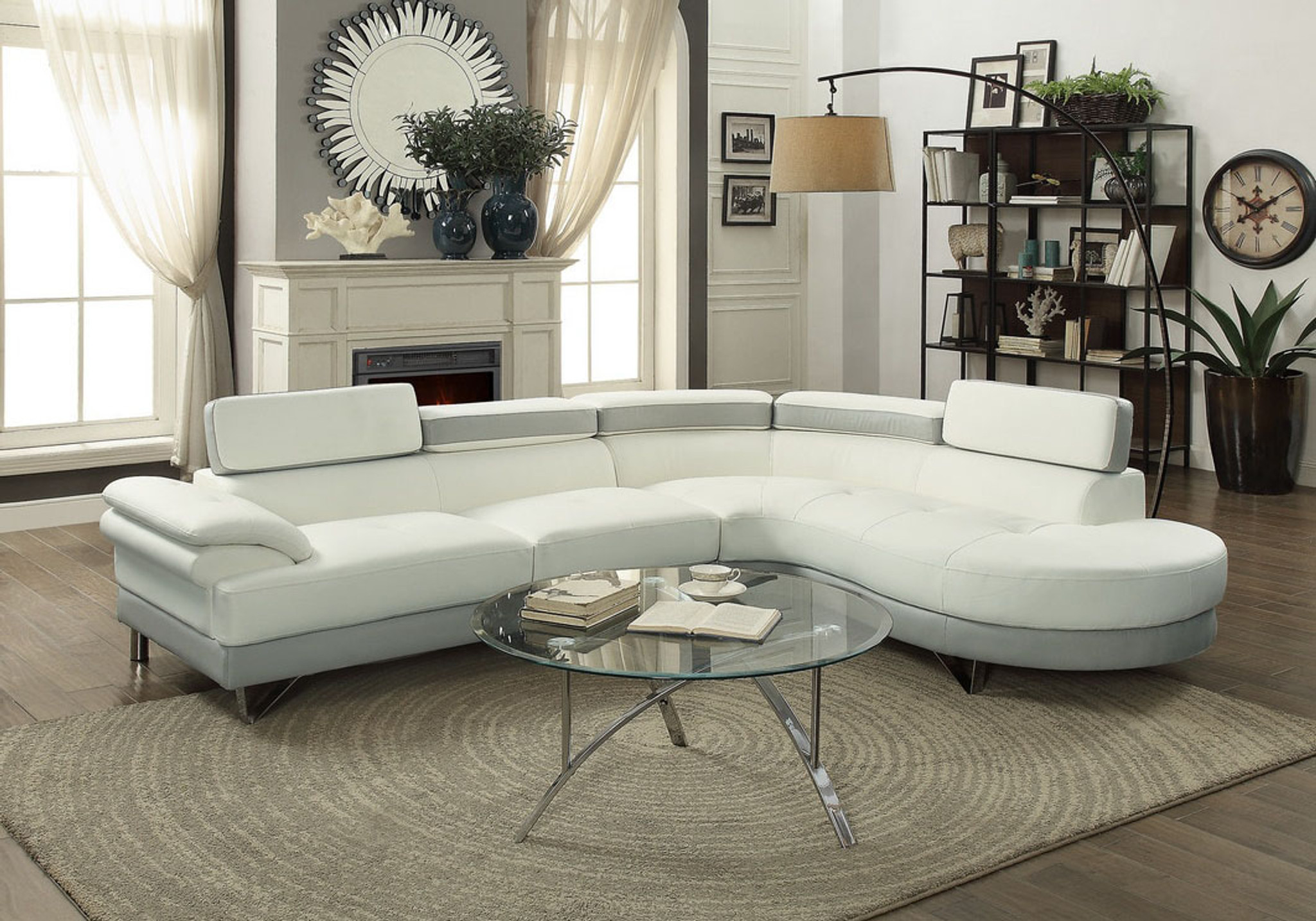 2pc sectional with flip up headrest in white light gray