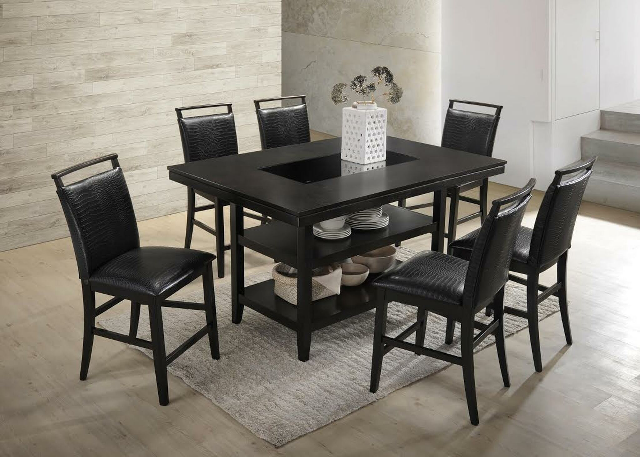 7pcs Black Counter Height Dining Table Set Black Crocodile Upholstery Km Home Furniture