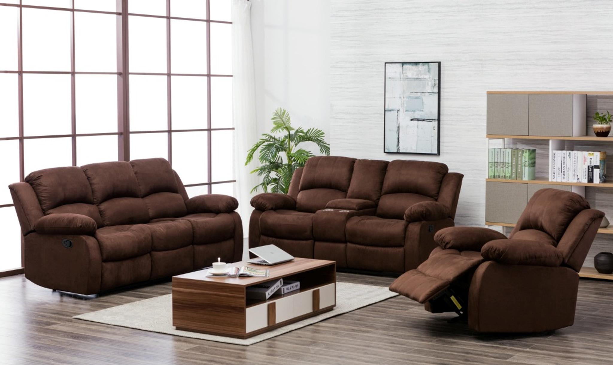 2pcs microfiber brown sofa and loveseat set