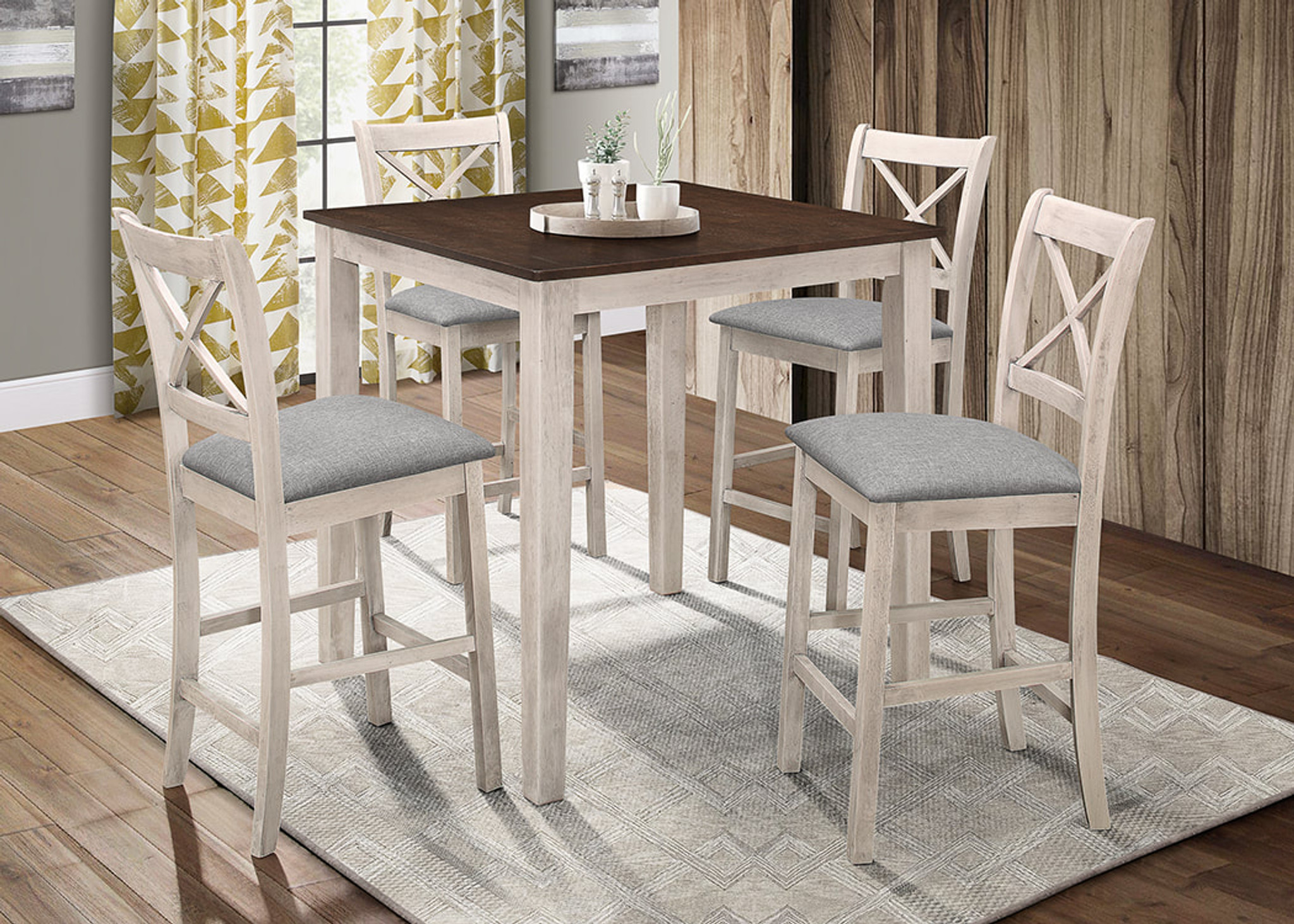 5pc Tahoe Counter Height Dining Table Set In Antique White By Happy Homes