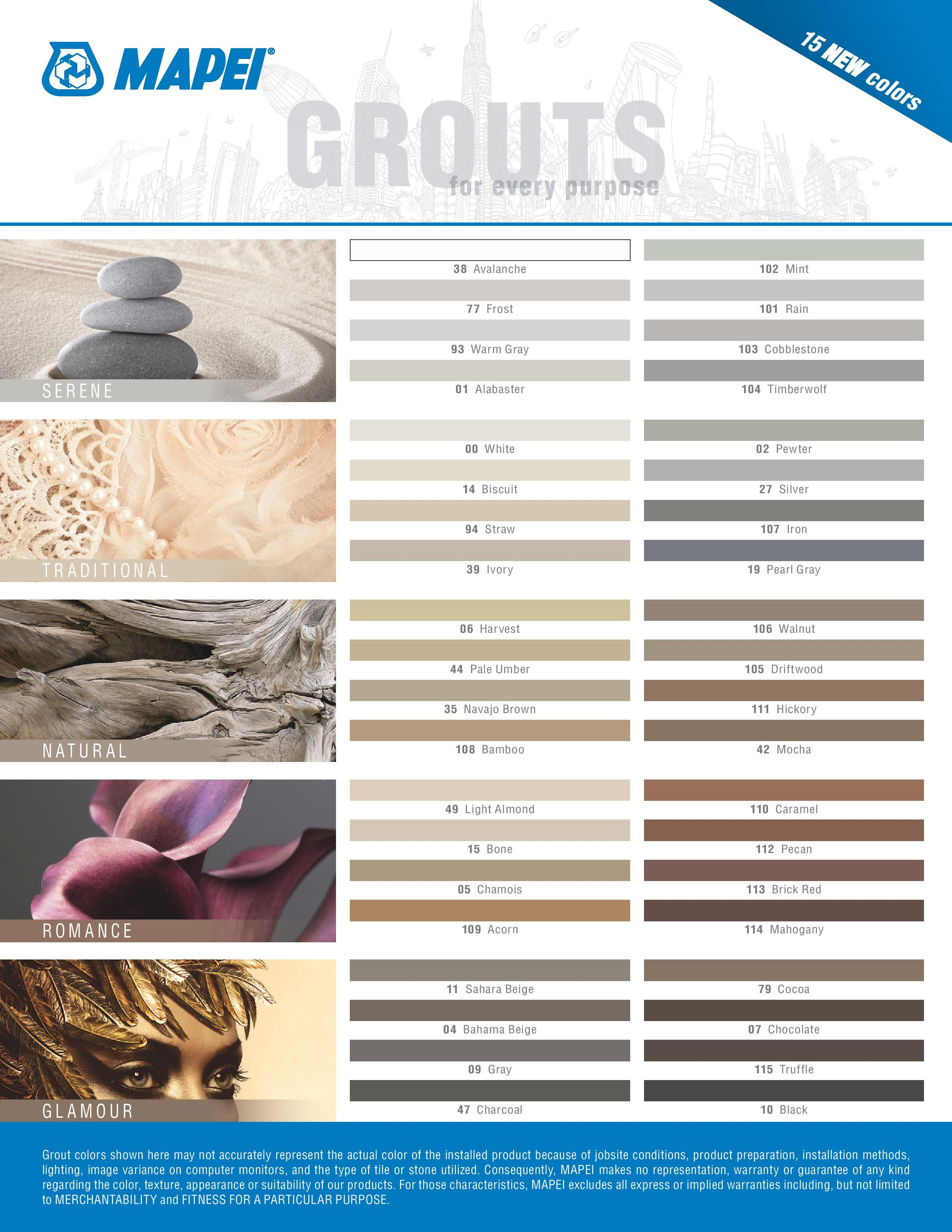 mapei grout color chart grout