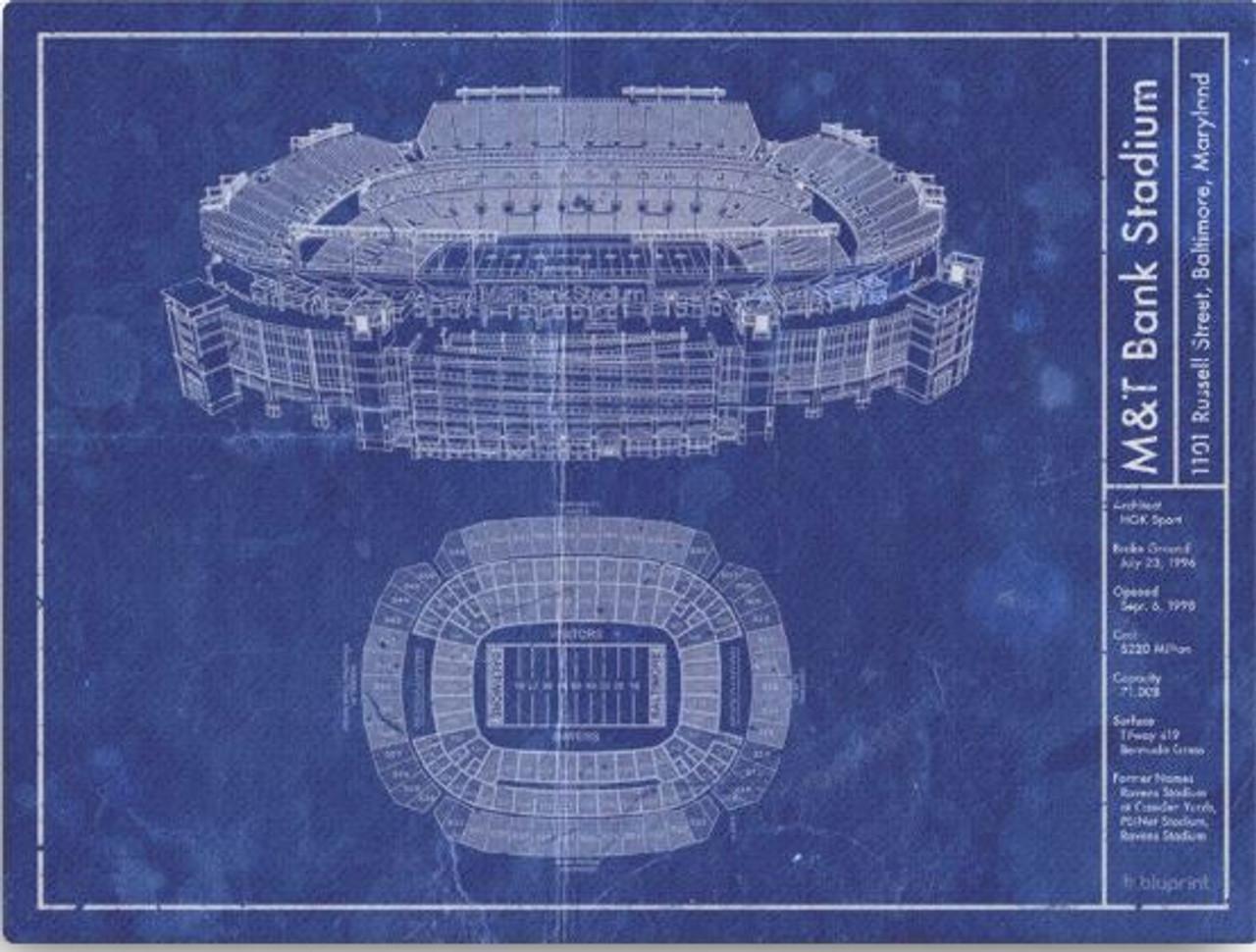 m t bank stadium baltimore ravens blueprint poster