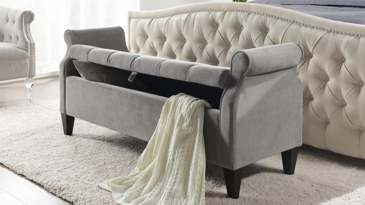jacqueline flip top tufted roll arm storage bench opal grey