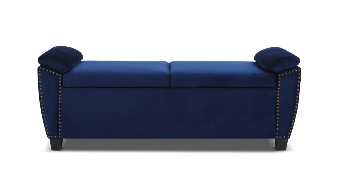jolene flip top storage bench nailhead trim navy blue