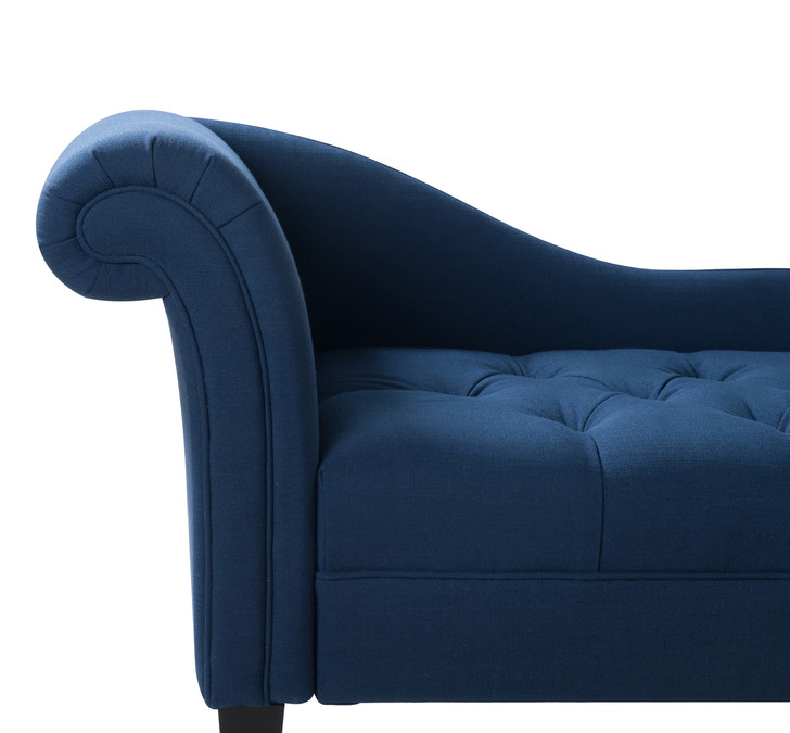 harrison tufted chaise lounge midnight blue