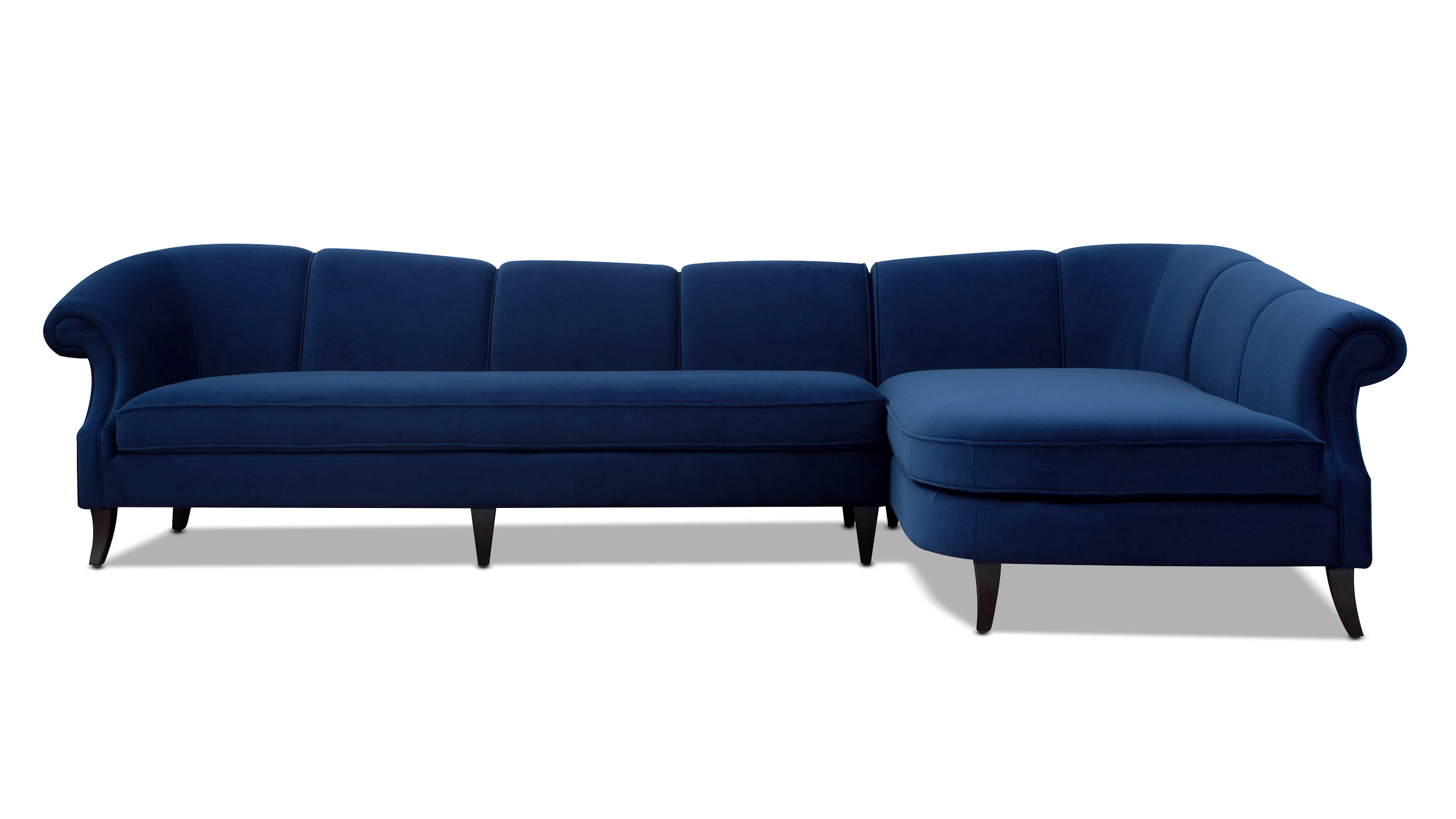 victoria upholstered right sectional sofa navy blue