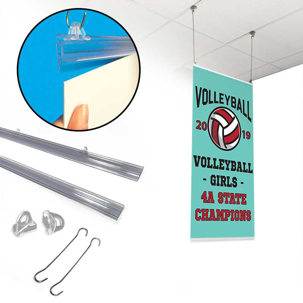 snap rail poster hanging kit w eyelets hangwires ceiling clips 24 w