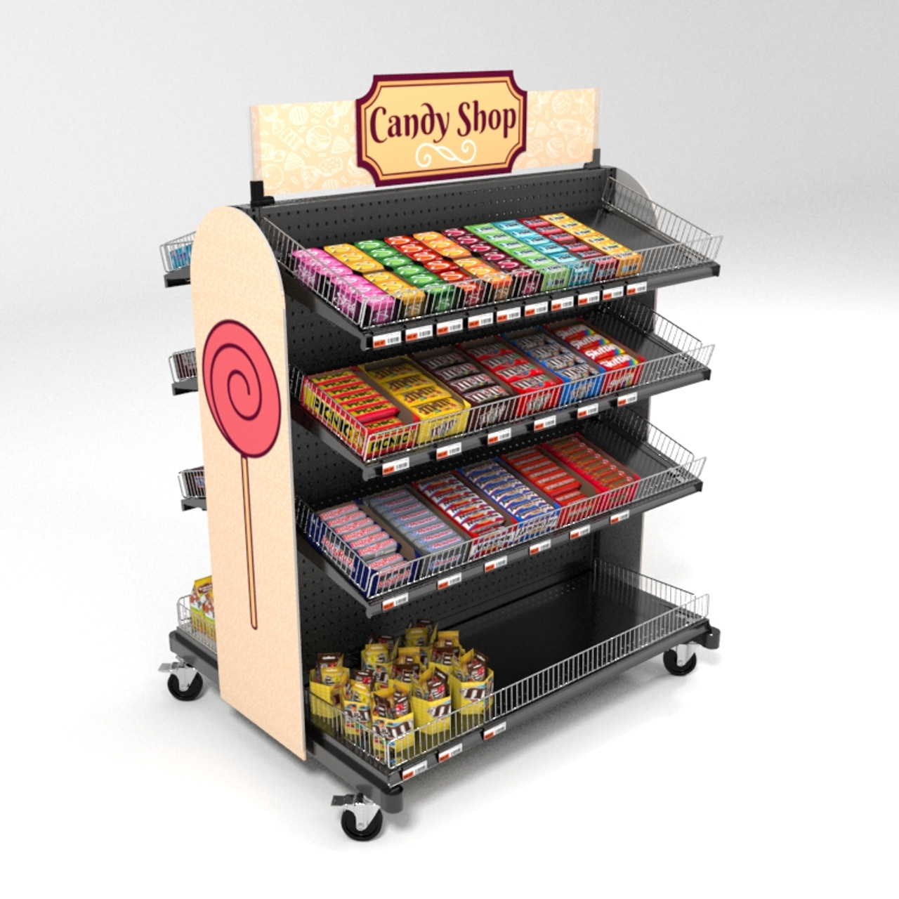 https www dgsretail com p2983 candy display rack on wheels mobile gondola display kit with shelves and dividers 48w