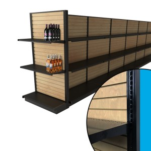 Black End Cap Gondola Shelving With Wood Slatwall 36 W X 72 H