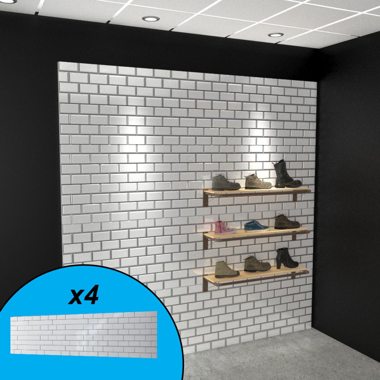 textured subway tile slatwall wall display white 96 x 96