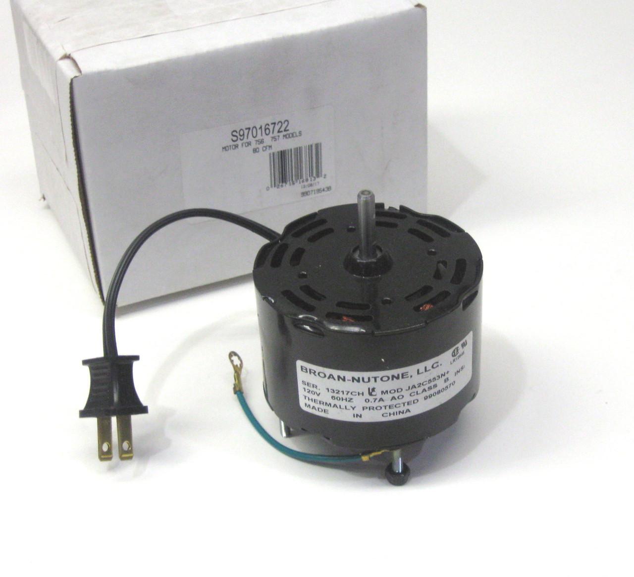 broan nutone s97016722 bathroom fan motor for 756x 757 80 cfm models
