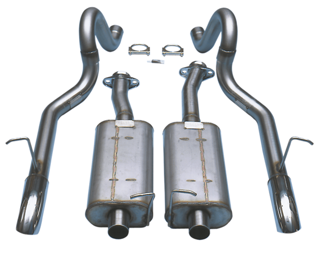 bassani cat back exhaust 2 1 2 stainless fits 87 93 gt mustang