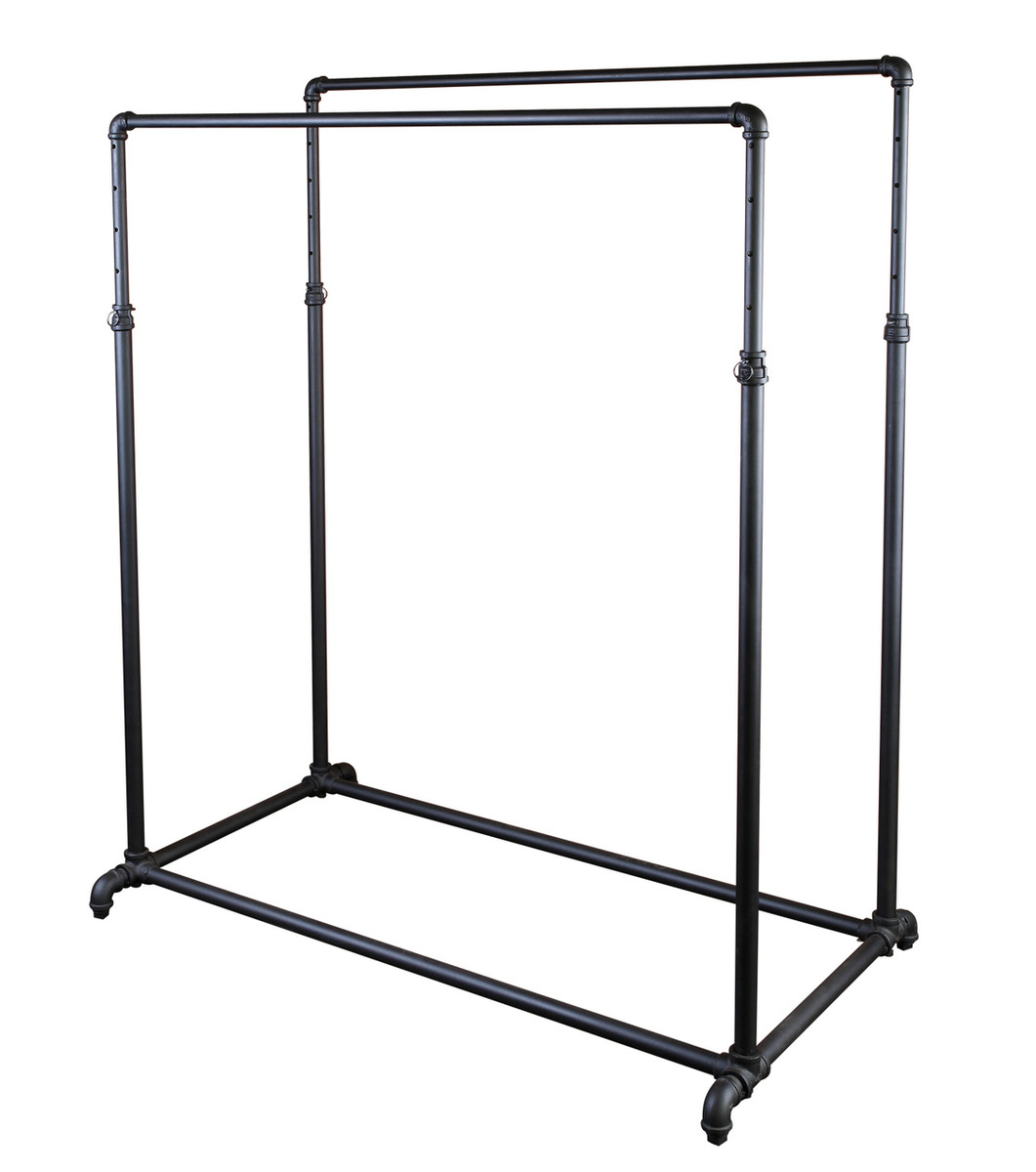 double rail adjustable height pipe clothing rack matte black