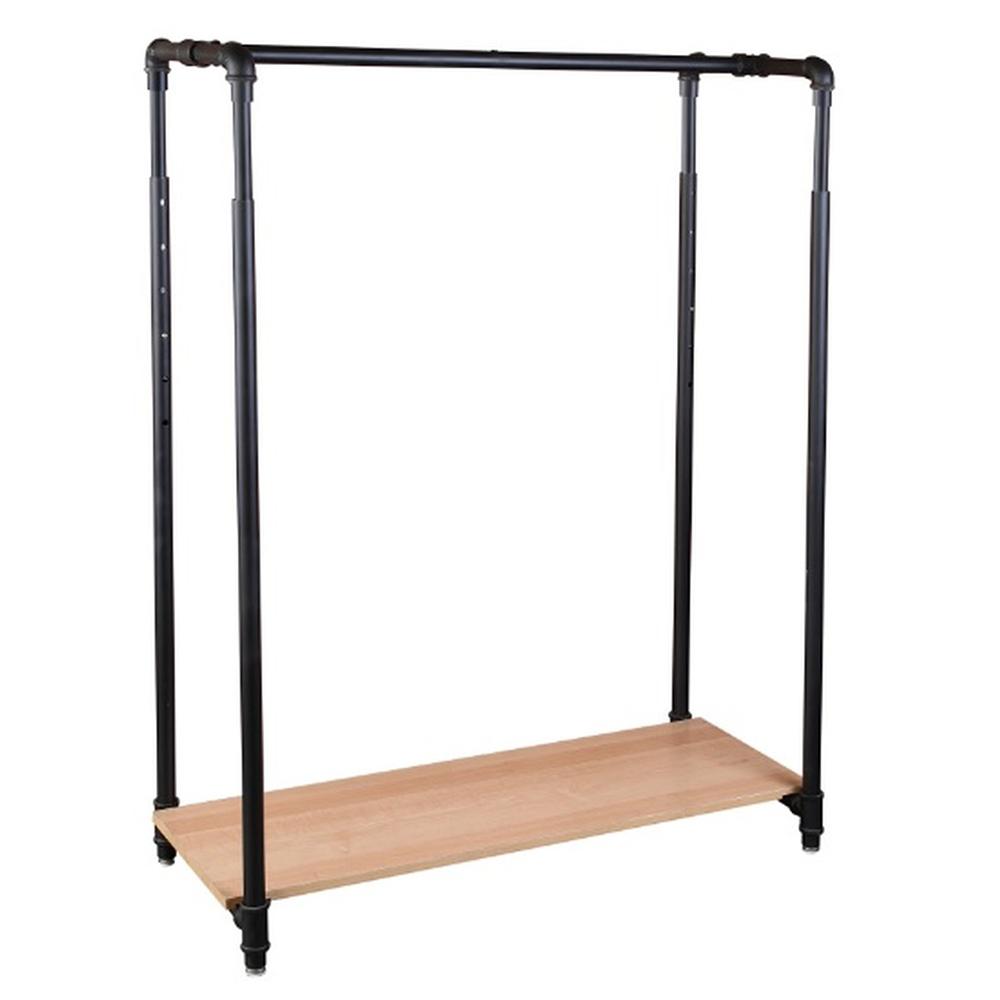 42 pipe clothing rack with bottom shelf matte black