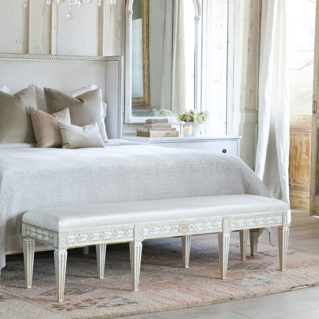 Eloquence King Anais Bench In Ivory Velvet And Gold Leaf Finish