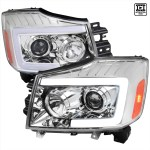 2004 2015 Nissan Titan Armada Led C Bar Projector Headlights W Switchback Sequential Turn Signals Chrome Housing Clear Lens Spec D Tuning