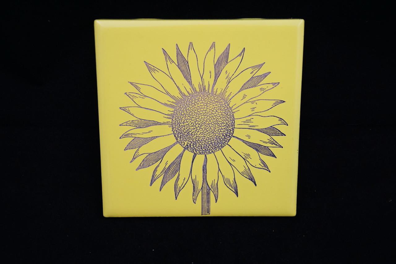 laser engraved sunflower tile