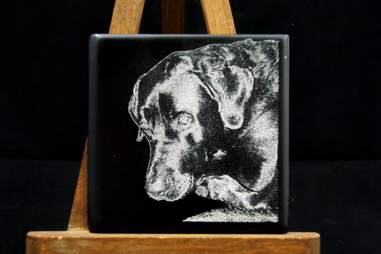 photo engraved on ceramic tile