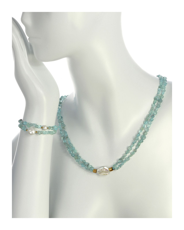 """Playa Azul - Biawa (biwa) Pearl & Azure Apatite Necklace & matching bracelets (set), Pearl and gemstone necklace is 33"""" in length (rope length style), slips over the head easily, Double stranded teal blue apatite baguettes flanking a single white large biawa freshwater pearl (20mm), Necklace can be shortened to a choker style with included silver converter, Part of the exclusive Naughton Braun Pura Vida Collection, Set includes 2 Playa Azul - Pearl & Apatite Stretch Bracelets , Bracelets are single stranded apatite gemstones with one dazzling white freshwater pearl (7-11 mm), Bracelets are on stretch elastic and fit wrist sizes up to 7"""
