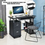 Black Computer Desk With Printer Shelf Hw53469 By Cw