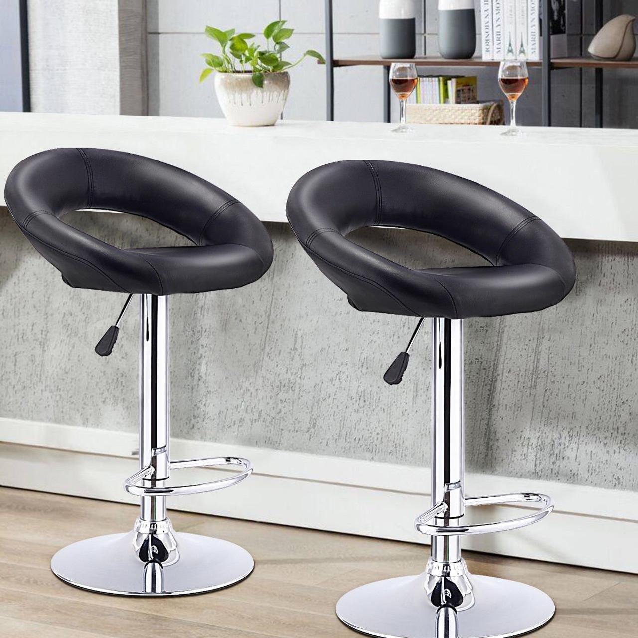 Set Of 2 Bar Stools Adjustable Pu Leather Barstools Swivel Pub Chairs Black Hw53839bk By Cw
