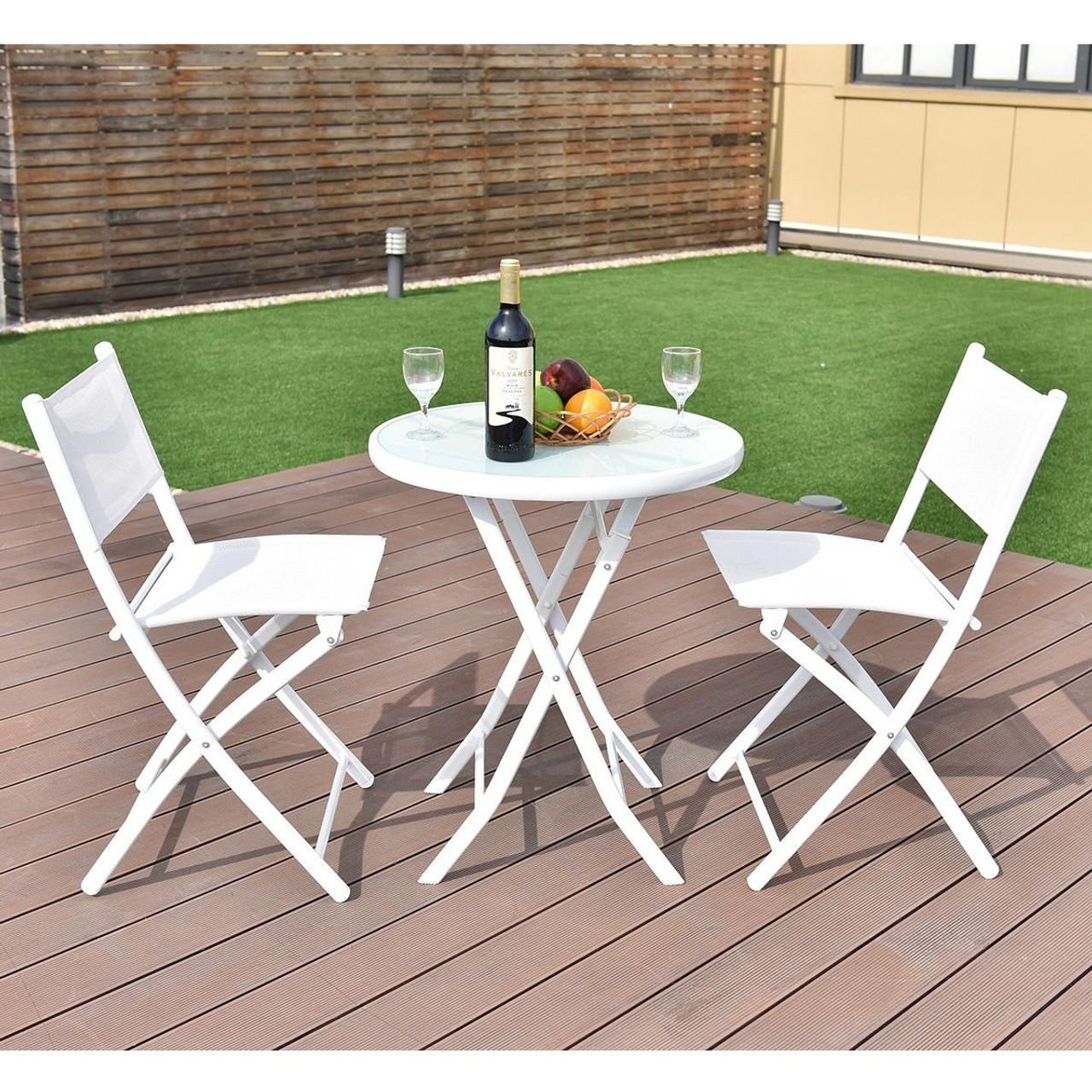 3 pcs folding bistro table chairs set garden backyard patio furniture black new white op3355wh