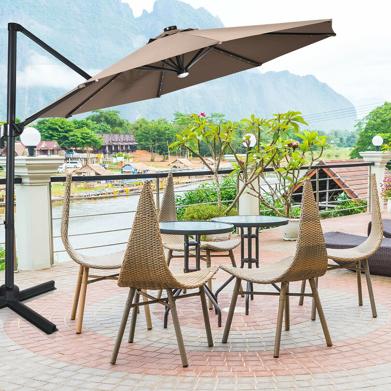 10 ft patio offset cantilever umbrella with solar lights coffee op70280cf