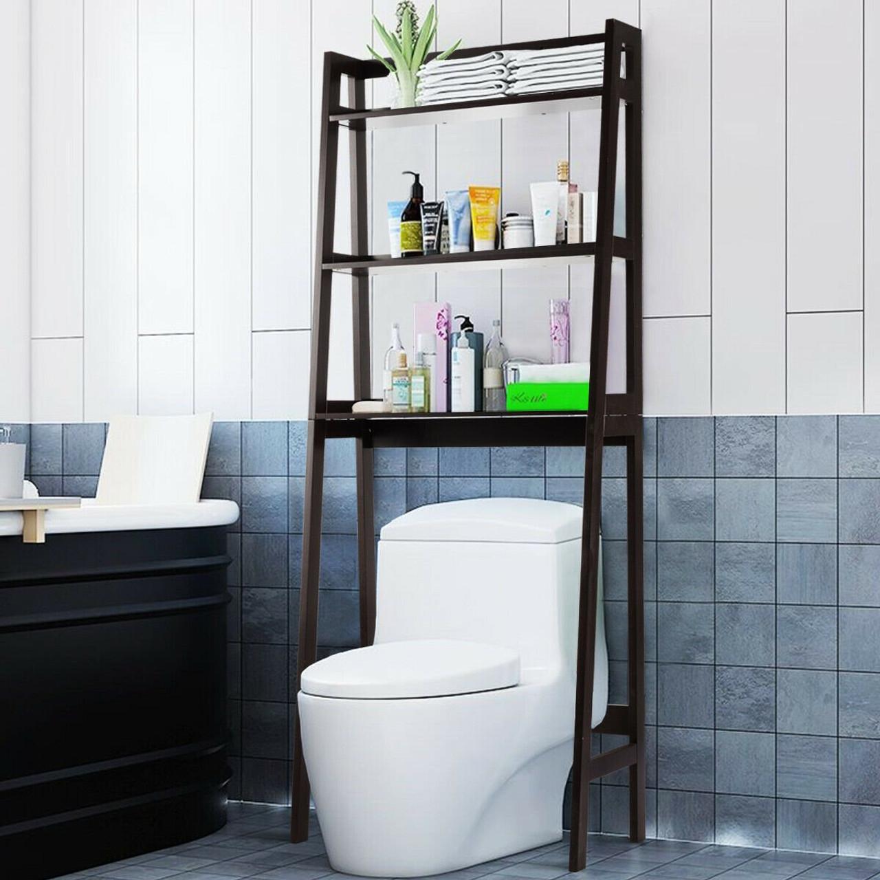 3 shelf over the toilet storage organizer rack brown hw63999bn