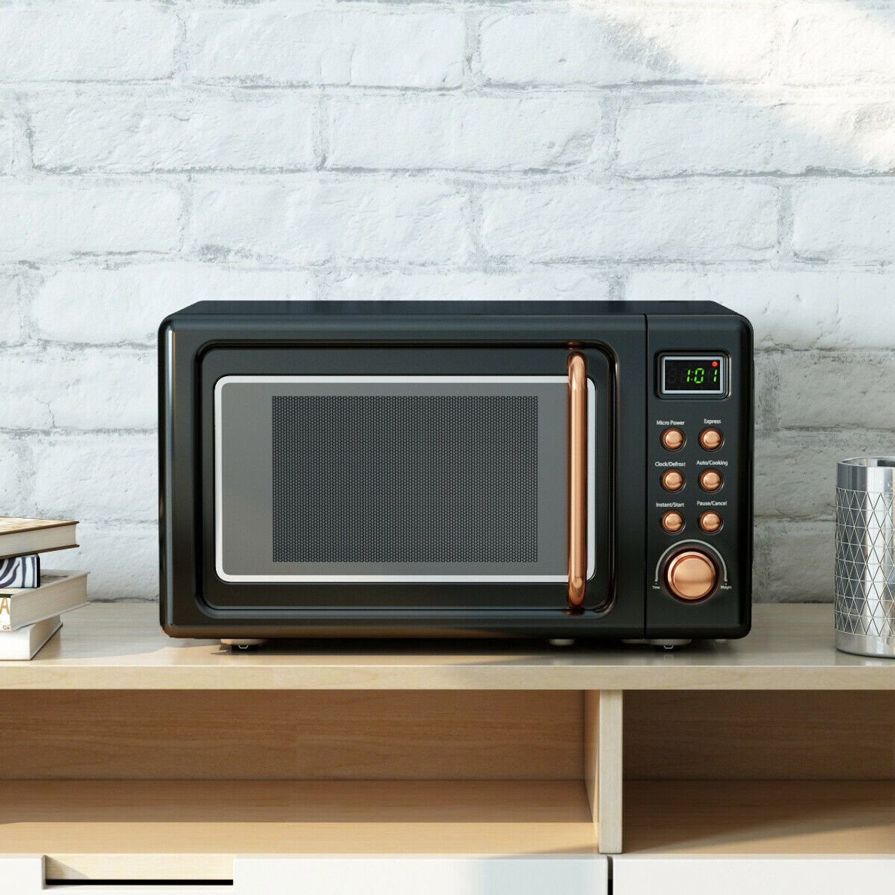 700w glass turntable retro countertop microwave oven golden ep23853gd